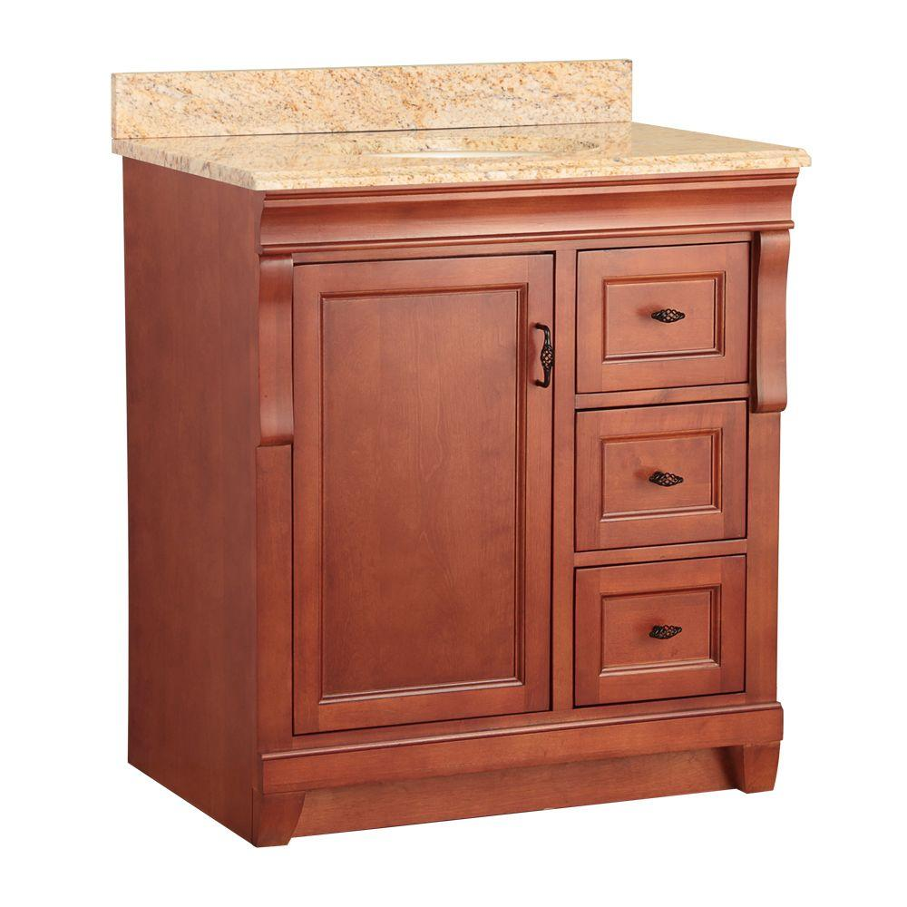 Foremost Naples 31 in. W x 22 in. D Vanity in Warm Cinnamon with Vanity Top and Stone Effects in Tuscan Sun