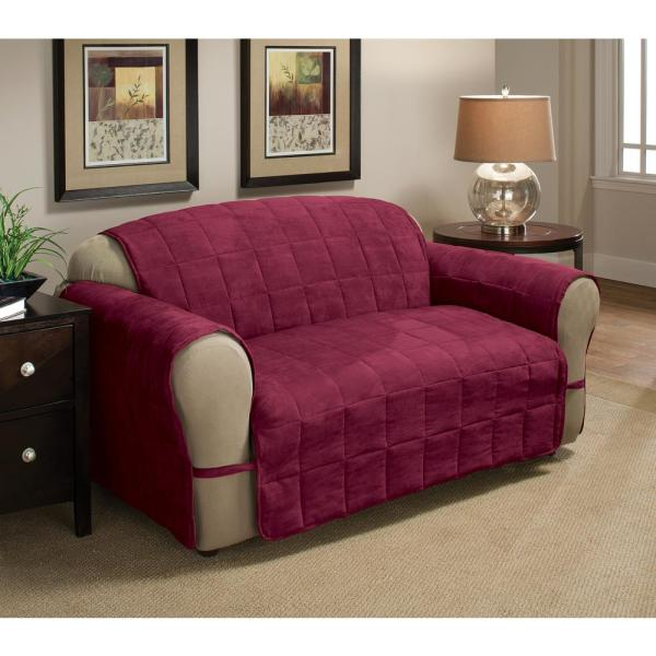 Ultimate Faux Suede Burgundy Loveseat Protector
