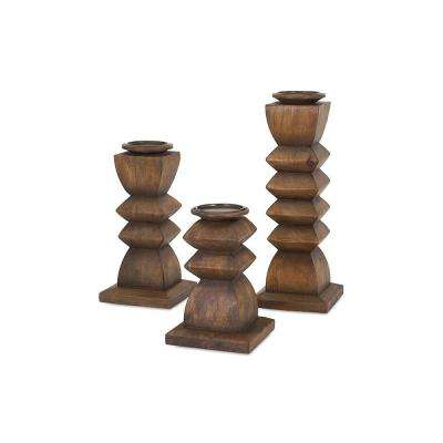 Austin Natural Wood Candle Holders (Set of 3)