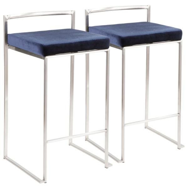 Fuji 26 in. Stainless Steel Stackable Counter Stool with Blue Velvet Cushion (Set of 2)