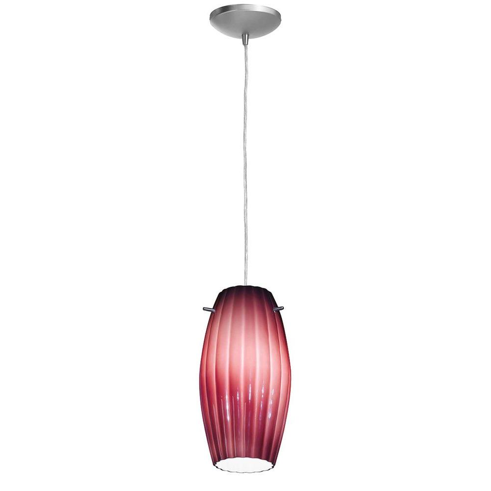 Access Lighting 1-Light Pendant Brushed Steel Finish Plum Glass-DISCONTINUED