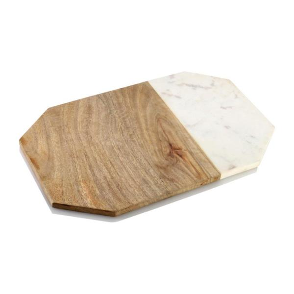 Chop-N-Slice 16 in. x 9.5 in. Abstract Wood and Marble Cutting Board