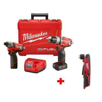 M12 FUEL 1/2 in. Cordless Drill/Driver and Impact Kit with Free M12 3/8 in. Right Angle Drill (Tool-Only)