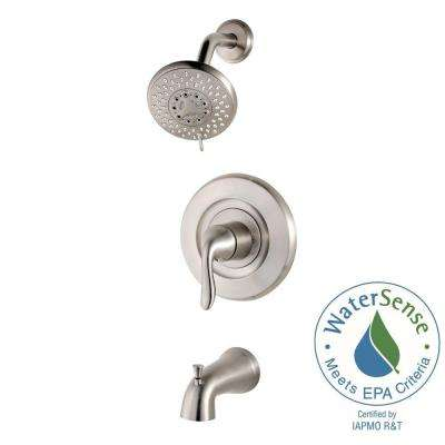 Universal Single-Handle Tub and Shower Faucet Trim Kit in Brushed Stainless Steel (Valve Not Included)
