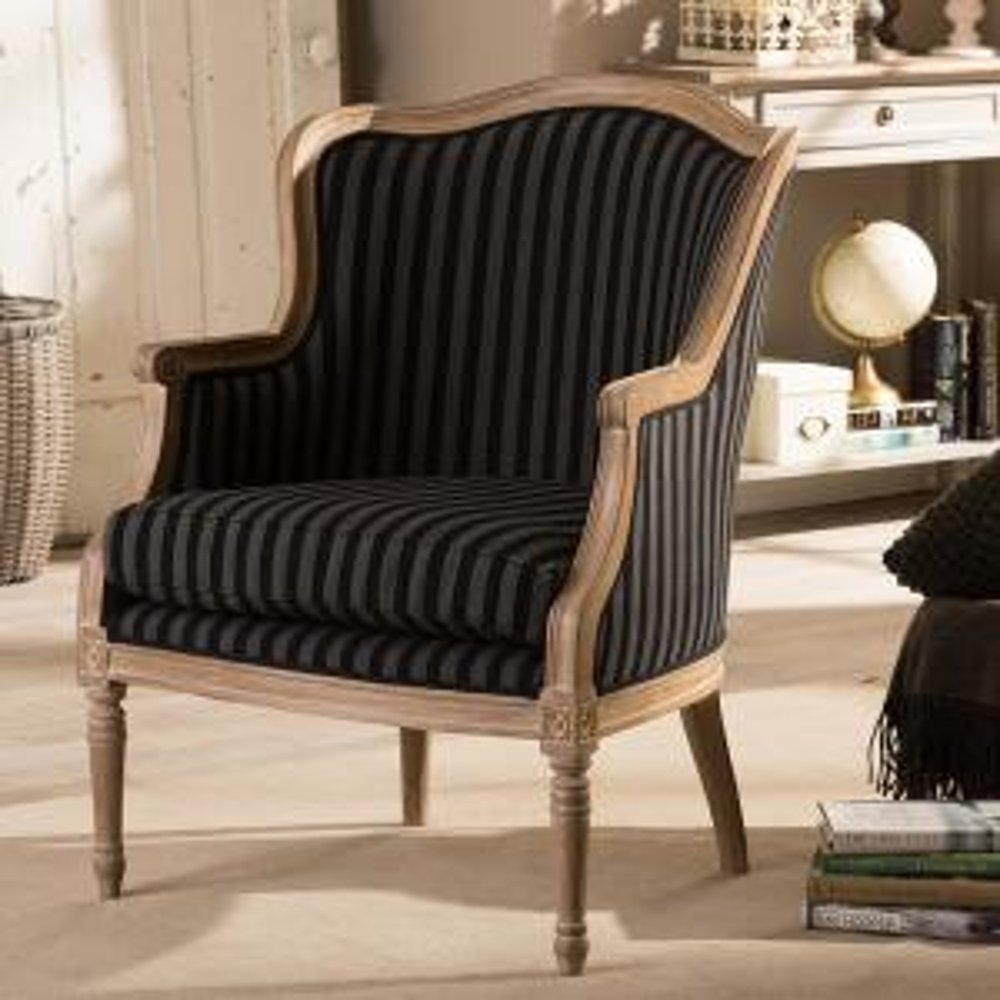 Baxton Studio Charlemagne Black Stripes Fabric Upholstered