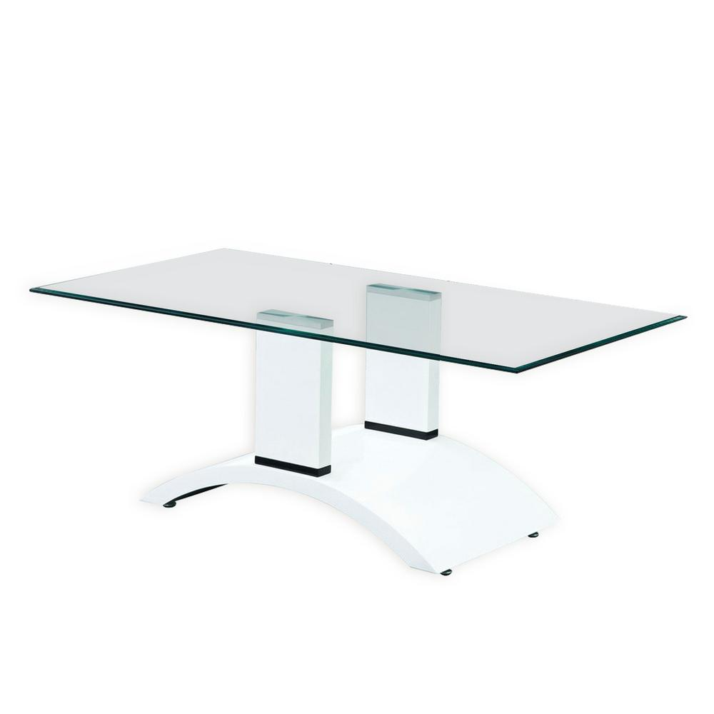 Good Fab Glass And Mirror Elite Tempered Glass Coffee Table With White Glossy  Base