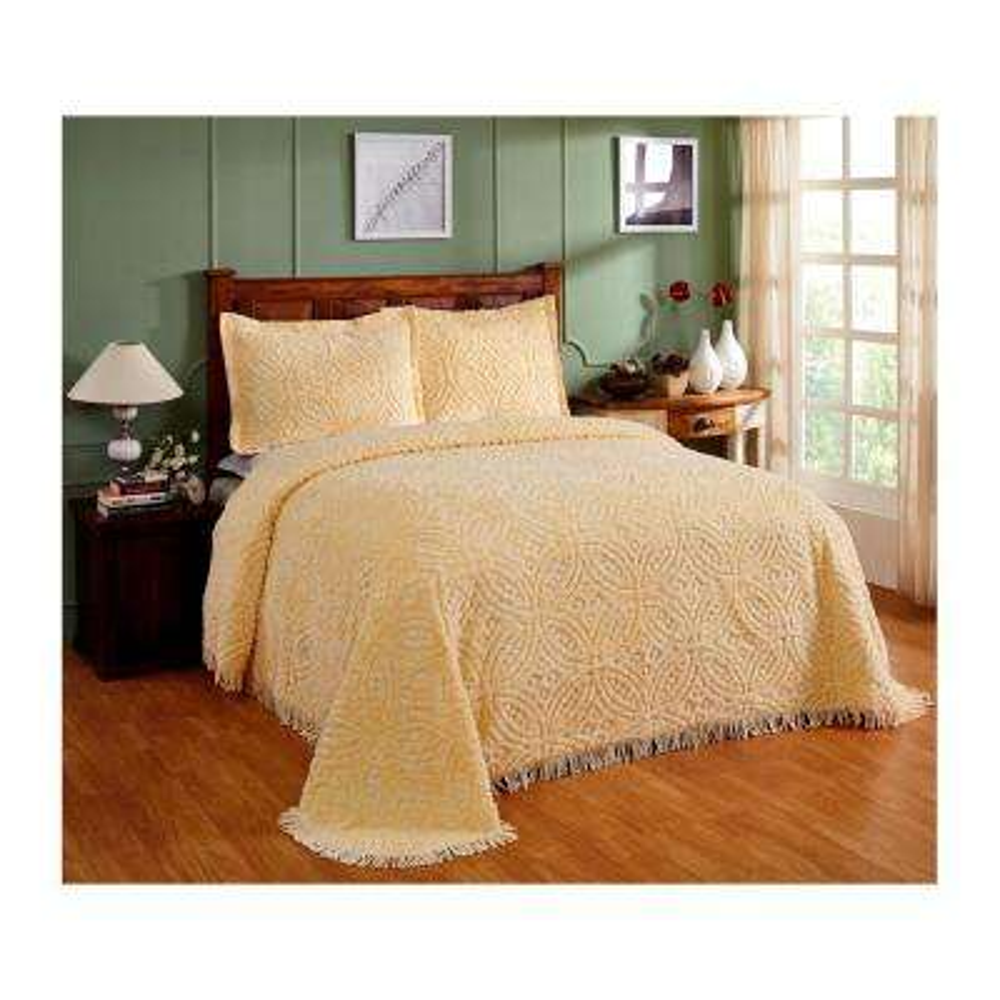 Wedding Ring 102 in. x 110 in. Yellow Queen Bedspread