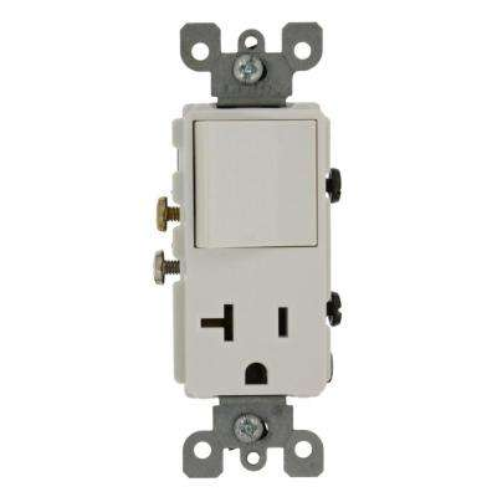15 Amp Decora Commercial Grade Combination Single Pole Rocker Switch/20 Amp Outlet, White