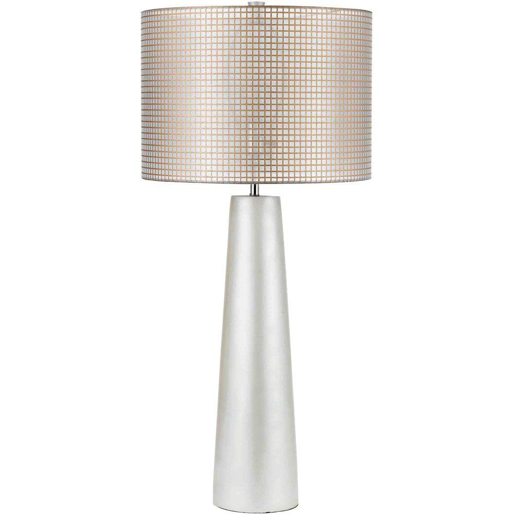 Lola 35 in. Pearl Resin Table Lamp with Natural Color Gauze