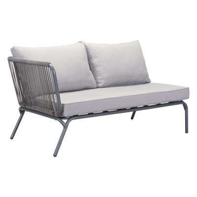 Pier Wicker Outdoor Patio Loveseat with Gray Cushions