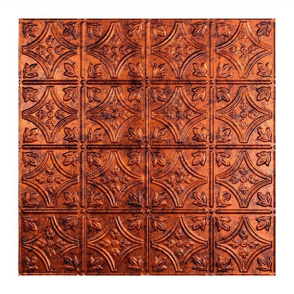 Fasade Traditional 1 - 2 ft. x 2 ft. Lay-in Ceiling Tile in Moonstone Copper