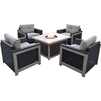 Montana 5-Piece Wicker Patio Fire Pit Conversation Set with Slatted-Top Fire Pit with Natural Oat Cushions