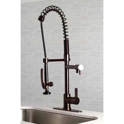 Single-Handle Pre-Rinse Spray Utility Pull-Down Sprayer Kitchen Faucet in Oil Rubbed Bronze