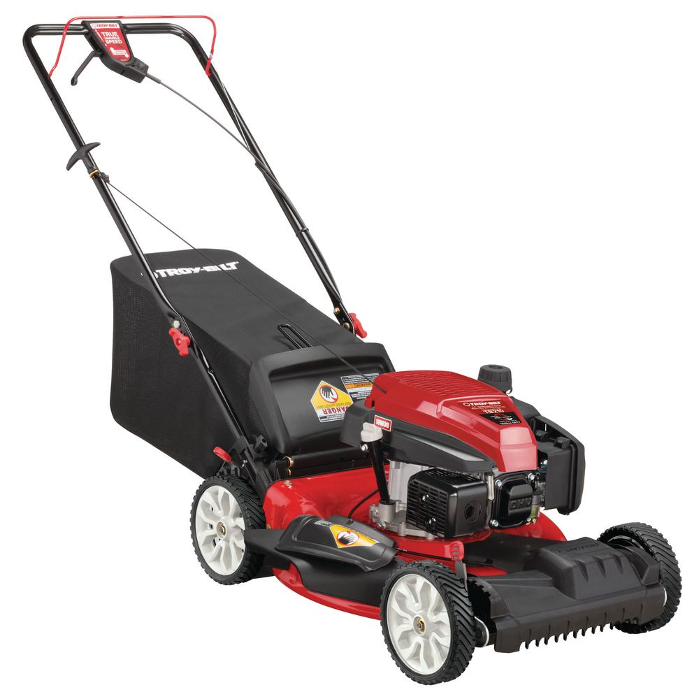 Troy Bilt 21 In 159 Cc Gas Walk Behind Self Propelled Lawn Mower With Check Don T Change Oil 3 In 1 Triaction Cutting System Tb210 The Home Depot