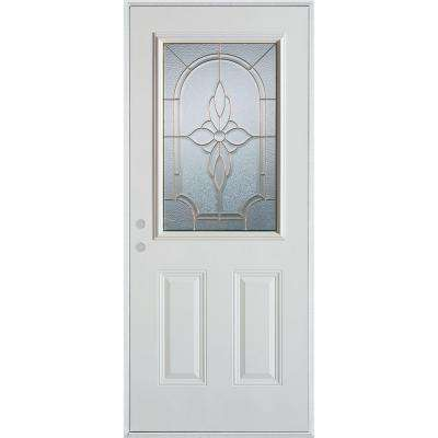 36 in. x 80 in. Traditional Patina 1/2 Lite 2-Panel Prefinished White Right-Hand Inswing Steel Prehung Front Door