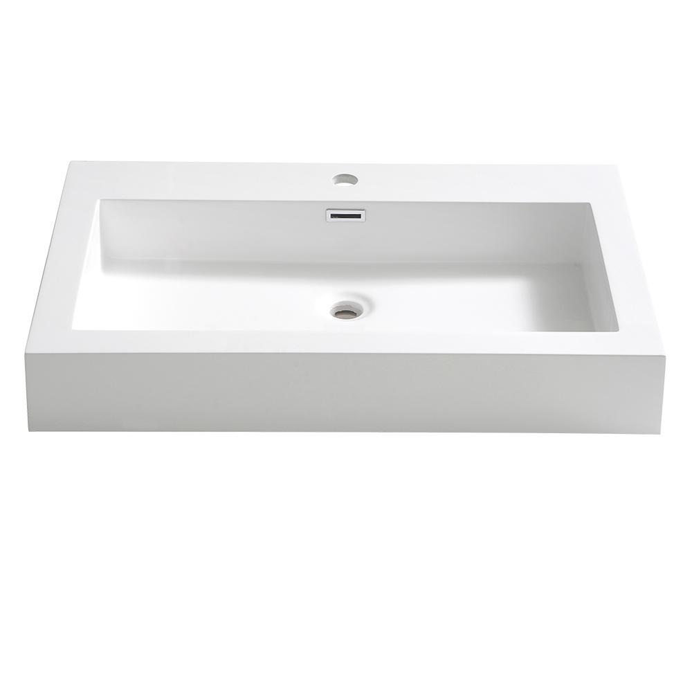 Fresca Livello 30 in. Drop-In Acrylic Bathroom Sink in Wh...