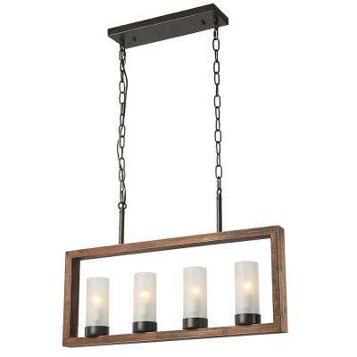 4-Light Bronze Wood Chandelier with Frosted Glass Shade