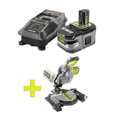 18-Volt ONE+ Lithium-Ion LITHIUM+ HP 6.0 Ah Starter Kit w/ Bonus ONE+ 7-1/4 in. Miter Saw with Blade and Blade Wrench