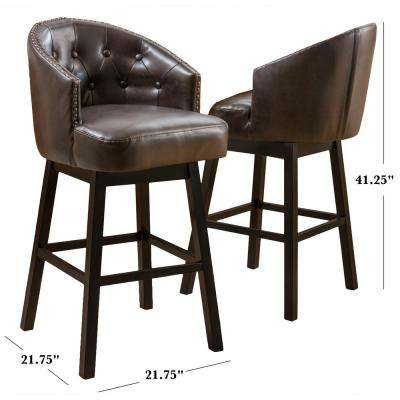 Ogden 41.5 in. Brown Swivel Cushioned Bar stool (Set of 2)
