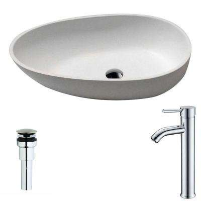 Trident 1-Piece Man Made Stone Vessel Sink in Matte White with Fann Faucet in Chrome