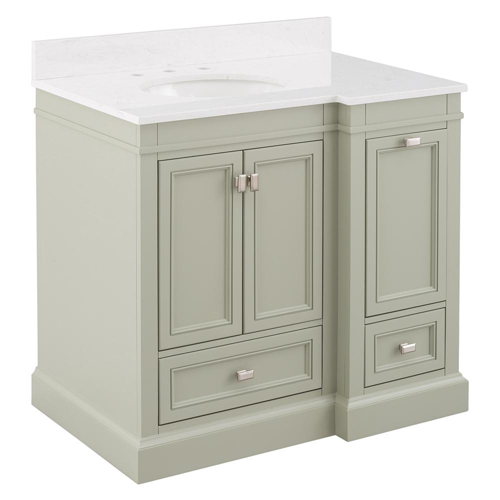 Home Decorators Collection Braylee 37 in. W x 24 in. D Vanity Cabinet in Sage Green with Engineered Stone Vanity Top in White with White Sink