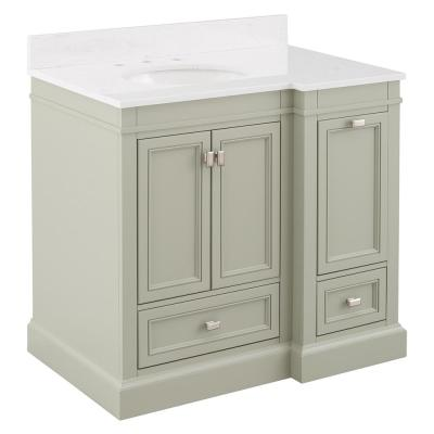 Braylee 37 in. W x 24 in. D Vanity Cabinet in Sage Green with Engineered Stone Vanity Top in White with White Sink