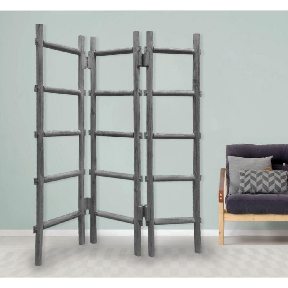 Mariana 59 in Gray Panel Wood Blanket Rack Screen Grey