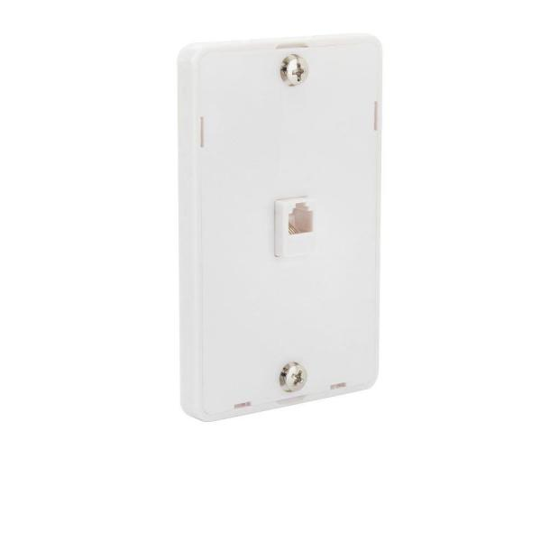 White 1-Gang Phone Jack Wall Plate (1-Pack)