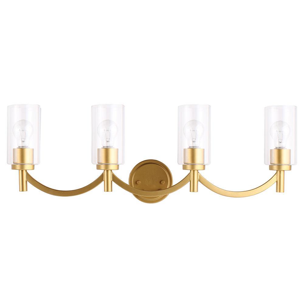Devora 4-Light Antique Gold and Clear Glass Bath Light