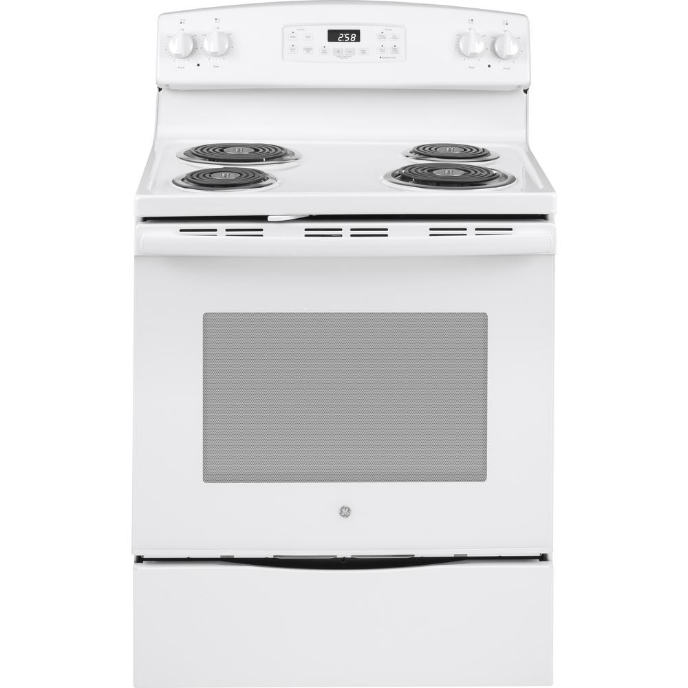 Ge 30 In 5 3 Cu Ft Electric Range With Self Cleaning Oven White