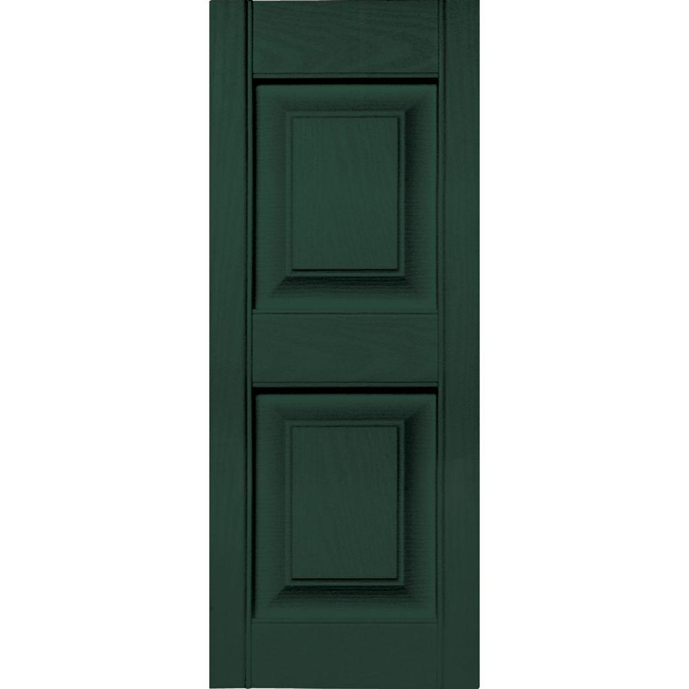 Builders Edge 12 in. x 31 in. Raised Panel Vinyl Exterior Shutters Pair in #122 Midnight Green