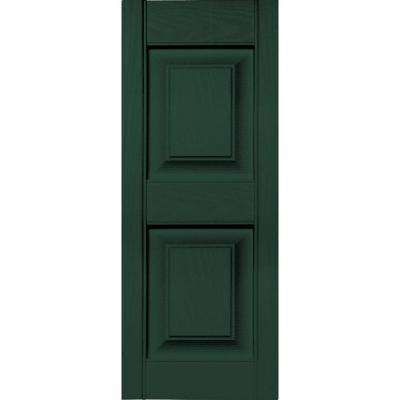 12 in. x 31 in. Raised Panel Vinyl Exterior Shutters Pair in #122 Midnight Green