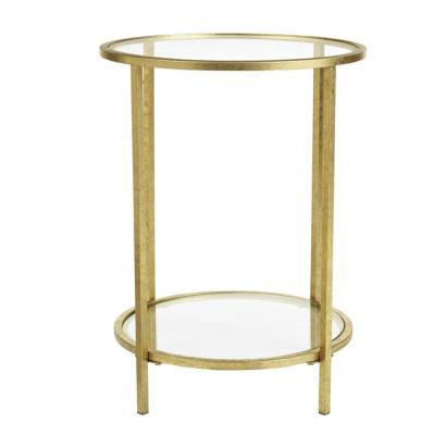Bella Round Gold Leaf Metal and Glass Accent Table (18 in. W x 24 in. H)