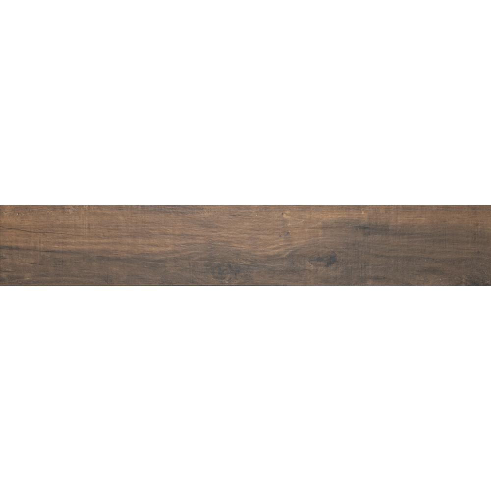 Country River Bark 8 in. x 48 in. Glazed Porcelain Floor