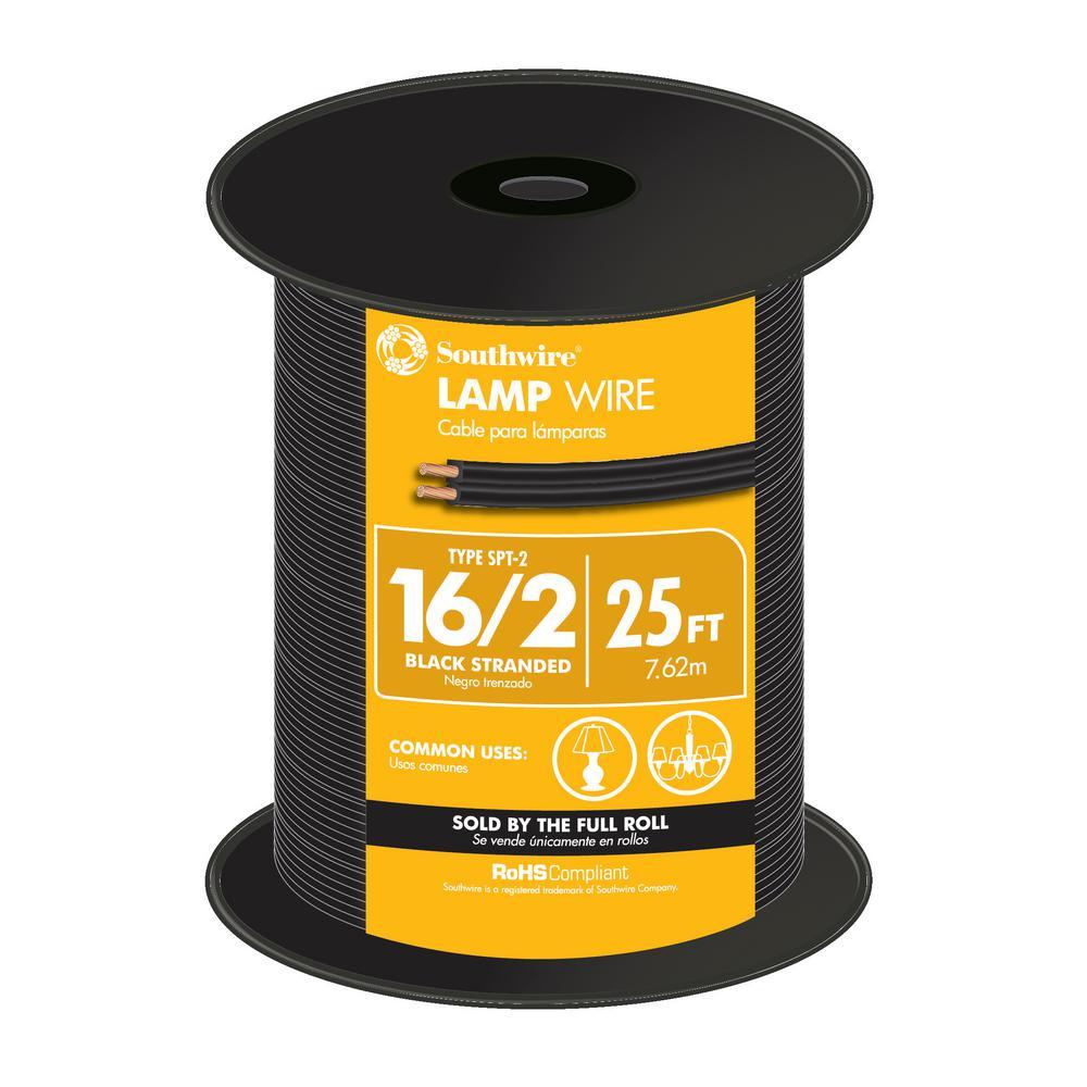 25 ft. 16/2 Black Stranded CU SPT-2 Lamp Wire