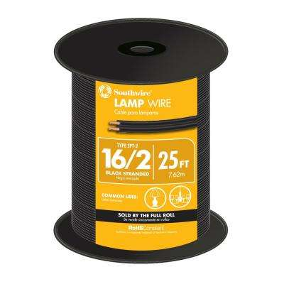 25 ft. 16/2 Black Stranded CU SPT-2 Lamp Wire