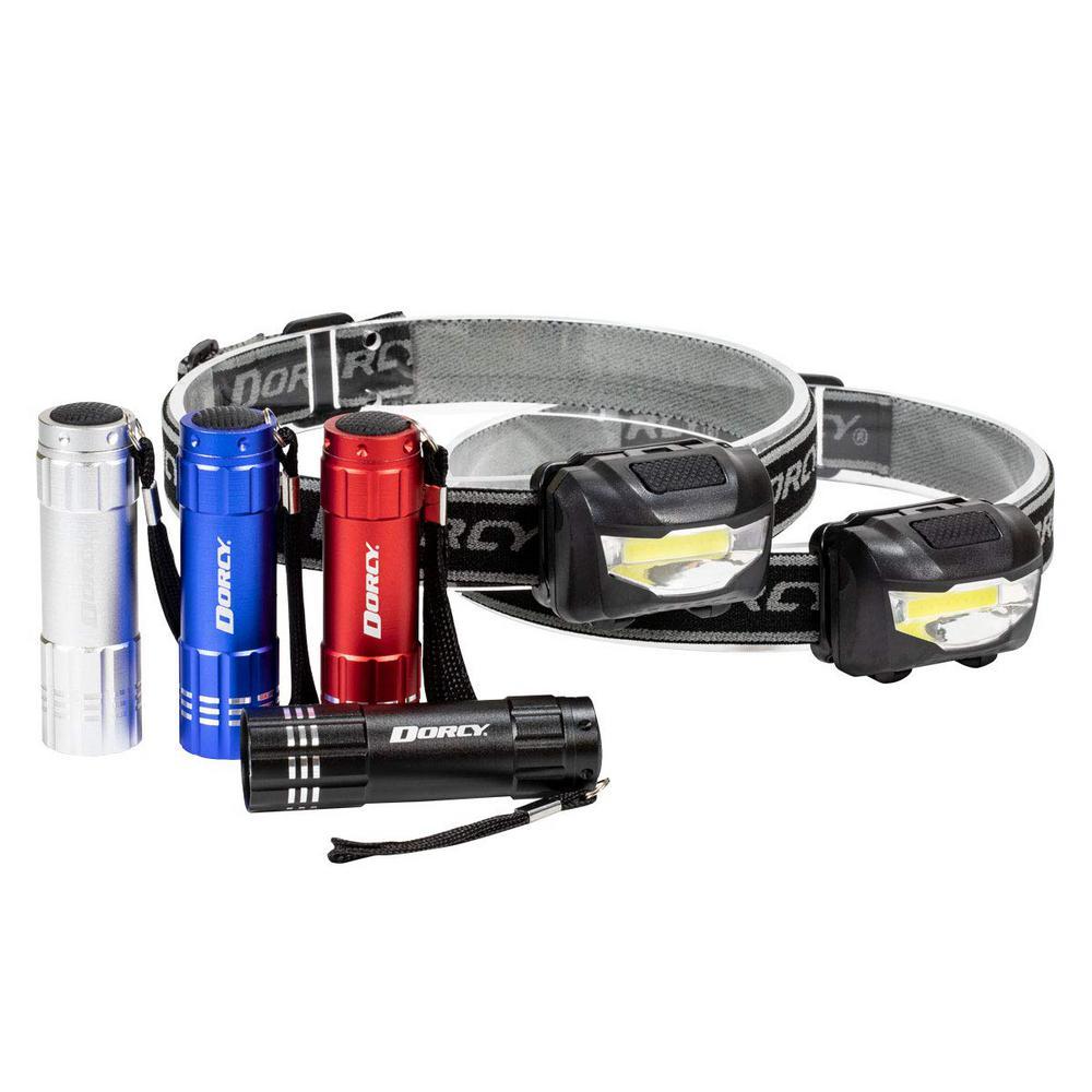 LED Flashlight/Headlight, Assorted Colors (6-Pack)