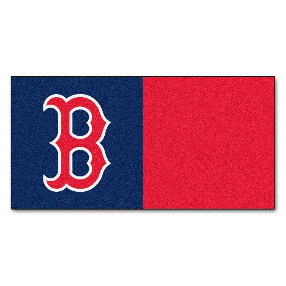 MLB - Boston Red Sox Navy Blue and Red Nylon 18 in. x 18 in. Carpet Tile (20 Tiles/Case)