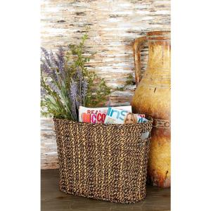 Multi-hue Brown Oval Seagrass Magazine Rack Bin with Cutout End Handles by