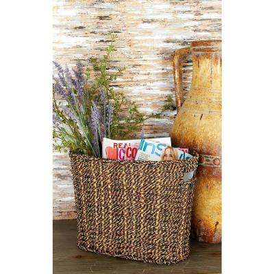 Multi-hue Brown Oval Seagrass Magazine Rack Bin with Cutout End Handles