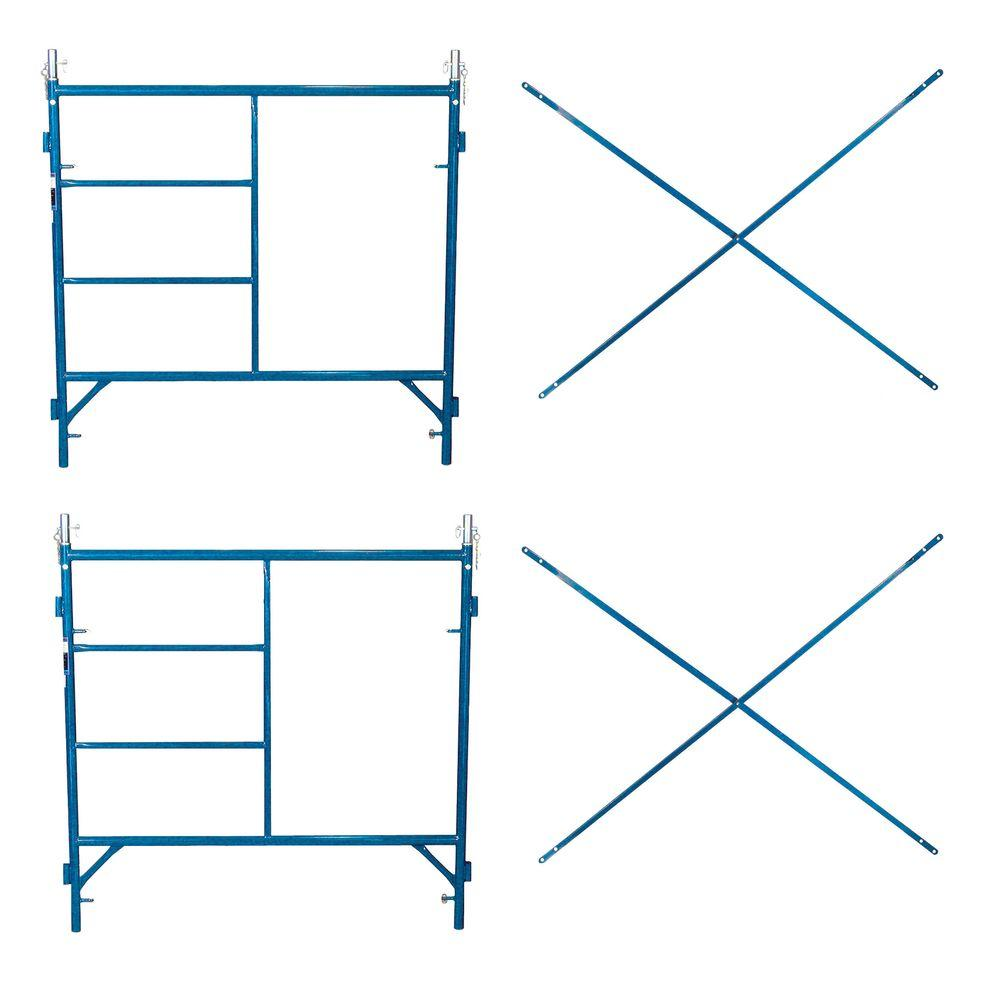 PRO-SERIES Basic Scaffolding Combo Two 5 ft. Frames and Two 7 ft. Cross-Braces-DISCONTINUED
