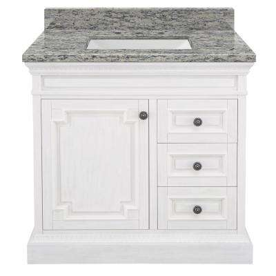 Cailla 37 in. W x 22 in. D Bath Vanity in White Wash with Granite Vanity Top in Santa Cecilia with White Sink