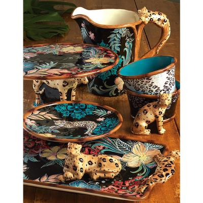 Exotic Jungle 4-Piece Patterned Multi-Colored Earthenware Dinnerware Set (Service for 4)