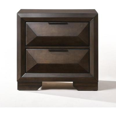 Amelia 2-Drawer 26 in. x 17 in. x 25 in. Espresso Rubber Wood Nightstand