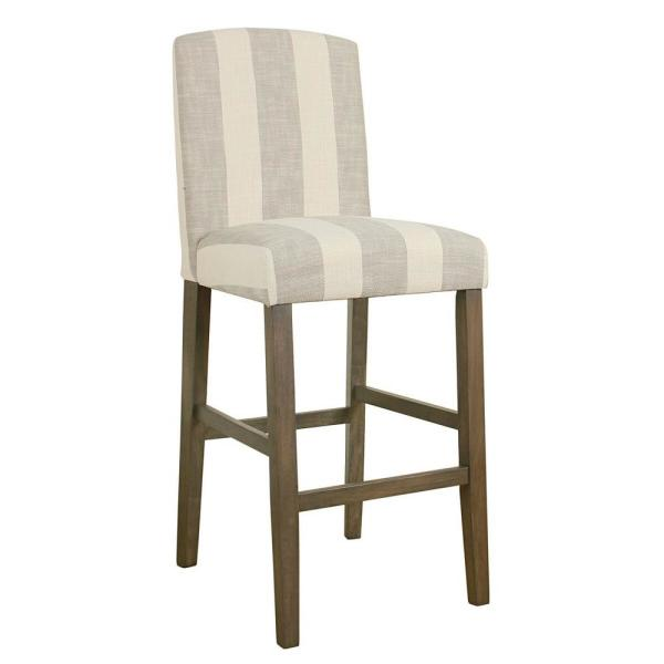 Homepop Curved Back 29 in. Grey Stripe Bar Stool