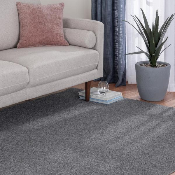 Natco Heavy Traffic Gray Solid Color 8 Ft X 12 Ft Carpet Remnant Area Rug S812c 61 The Home Depot