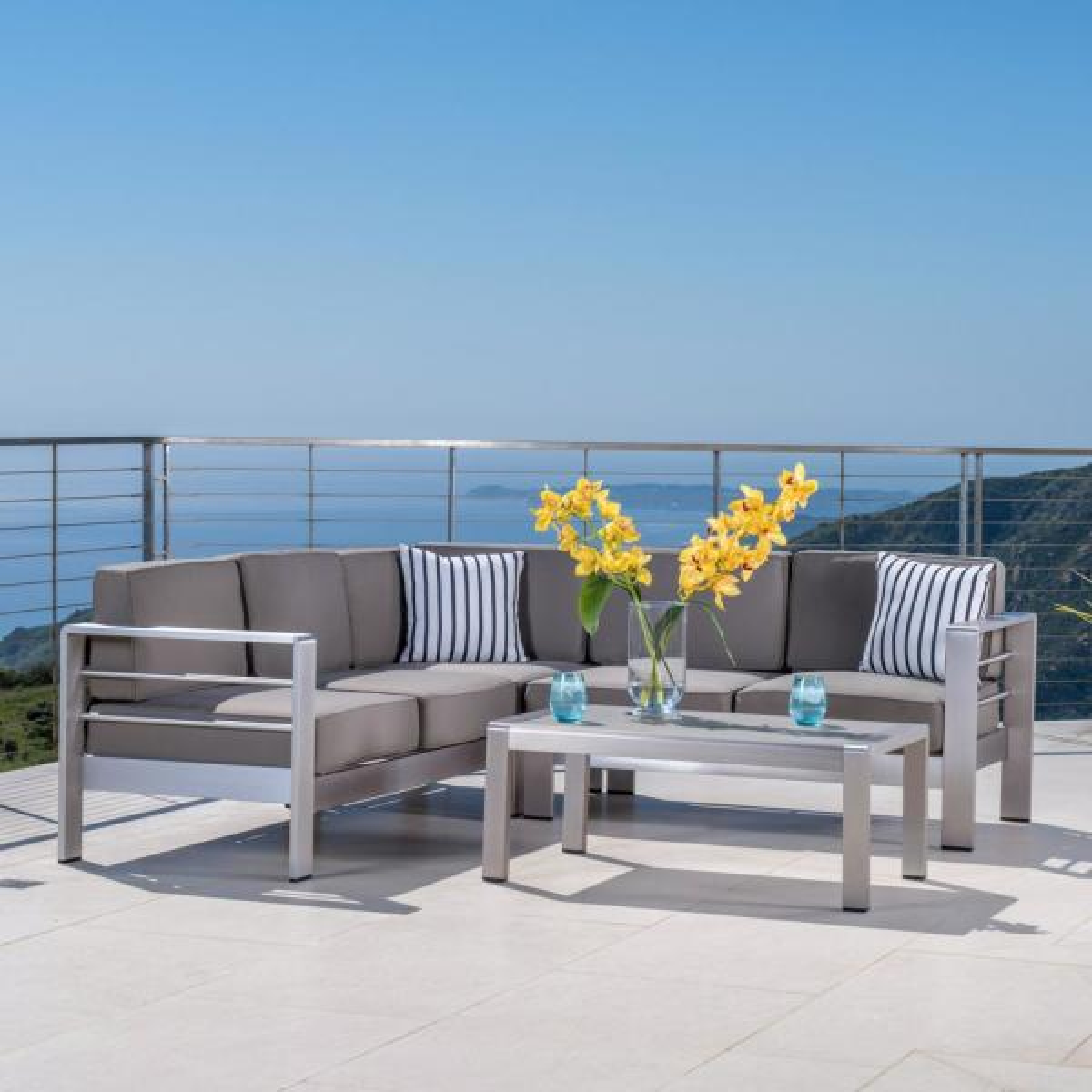 Cape Coral 4pc Aluminum Sofa Set with Cushions - Khaki - Christopher Knight Home