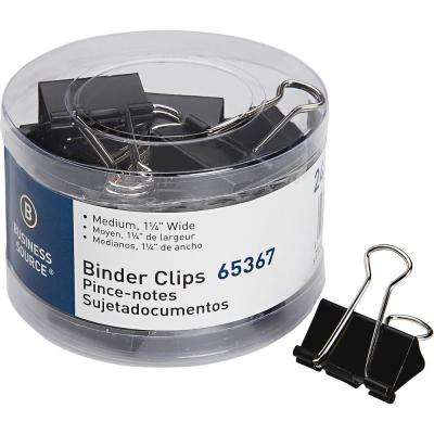 Medium Steel Zinc Binder Clips, Black (24-Pack)