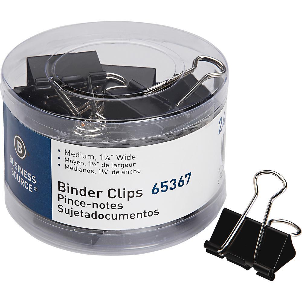 Medium Steel Zinc Binder Clips, Black (24 Pack)