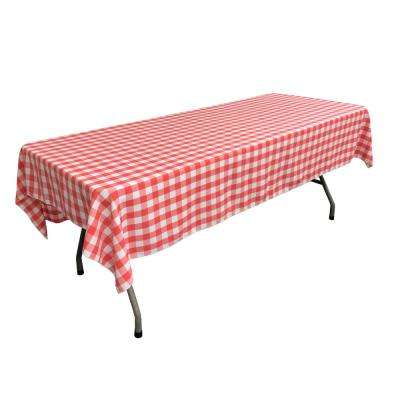60 in. x 90 in. White and Coral Polyester Gingham Checkered Rectangular Tablecloth